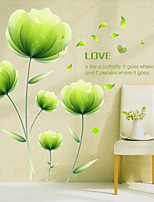 Wall Stickers Wall Decals, Romantic Green Flowers Love PVC Wall Sticker