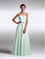Formal Evening Dress A-line/Princess Strapless Floor-length Lace/Tulle