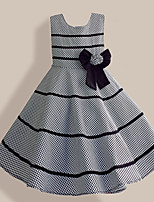 Girls Fashion  Gray Plaid Flower Bow Party Pageant Princess Children Clothing  Dresses (Cotton)