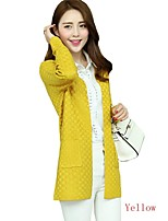 Women Casual Fall Small Square Double Button Long Section Outerwear Sweater Knit Cardigan (Cotton Blends)