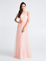 Floor-length Tulle Bridesmaid Dress - Pearl Pink Sheath/Column Straps