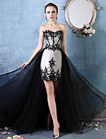 Formal Evening Dress - Ruby / Black Petite Trumpet/Mermaid Sweetheart Asymmetrical Lace / Tulle / Charmeuse
