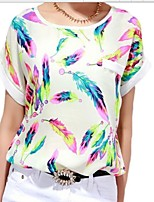Women's Print Multi-color Blouse , Round Neck Short Sleeve