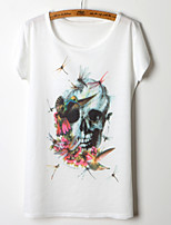2015 Fashion Women Summer Floral and Skull Printing T-shirt Free Size
