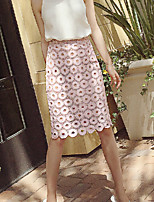 Women's Solid Pink Skirts , Sexy/Bodycon/Beach Knee-length Lace/Hollow Out/Split