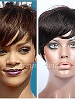 6 '' à court cheveu humain rihanna couper perruques la machine vierge sans colle brésilien aucune dentelle non transformés perruques