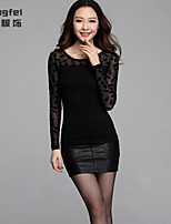 Women's Patchwork/Jacquard Black Blouse , Round Neck Long Sleeve Mesh