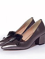Women's Shoes Leather Chunky Heel Heels/Pointed Toe/Closed Toe Pumps/Heels Casual Black/Pink