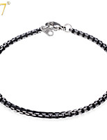 U7® Men's Cool Black Aluminum Alloy Men Jewelry With 316 Stamp New Trendy 21 CM 3MM Box Link Chain Bracelets