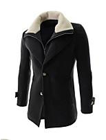 Men's Casual/Formal Pure Long Sleeve Long Coat (Tweed)