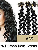 Droits des extensions de cheveux de 20 pouces de la pointe des cheveux remy clou bouclés 0.5g / 7 couleurs pour la beauté des femmes