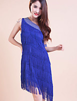 Latin Dance Outfits/Dresses Women's/Children's Performance/Training Polyester Tassel(s) 1 Piece Blue