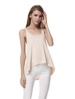 Women's Sexy Casual Cute Plus Sizes Inelastic Sleeveless Regular Shirt ( Polyester)