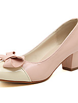 Women's Shoes Patent Leather Chunky Heel Round Toe Pumps/Heels Casual Blue/Pink