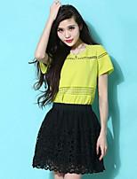 Women's Solid White/Black/Yellow T-shirt , Round Neck Short Sleeve