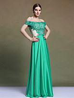 Formal Evening Dress Sheath/Column Off-the-shoulder Floor-length Satin/Stretch Satin Dress Party Dress