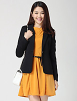 Women's Solid Blue/Red/Black/Orange/Yellow Blazer , Casual/Work Shirt Collar Long Sleeve