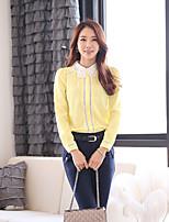 Women's Patchwork Yellow Shirt Long Sleeve