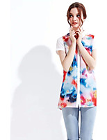 Women's Sexy Casual Print Cute Inelastic Short Sleeve Regular Shirt (Polyester)