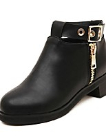 Women's Shoes Leather Low Heel Bootie Boots Casual Black