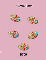 10pcs/lot Oval Nail Art Colorful Rhinestones 3D Metal Nail Charms Decoration New Design 13mm*8mm