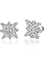 Concise Silver Plated Clear Crystal Snowflake Flower Stud Earrings for Party Women Jewelry Accessiories