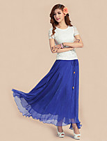 Women's Blue/Red/Green/Orange Skirts , Casual Maxi