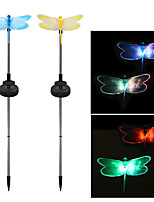 Pack of 2 Solar Fiber Optic Color-Changing Dragonfly Garden Stake Light Landscape Lighting Pathway Stairway