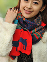 Women Red Stripe  Stitching Color Fawn Long Wool Scarf