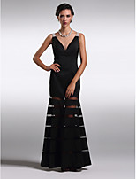 Formal Evening Dress - Black Sheath/Column V-neck Ankle-length Satin