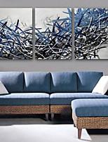 E-Home® Leinwandbild Blue Werk dekorative Malerei Set von 3