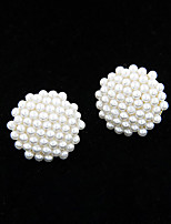 Women's European Style Fashion Sweet Alloy Imitation Pearl Round Stud Earrings