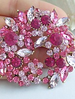 2.17 Inch Gold-tone Pink Rhinestone Crystal Flower Brooch Pendant Art Decorations