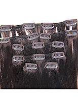 15 Inch 7Pcs/70g Clip in Brazilian Human Hair Extensions Silky Straight #2 Dark Brown