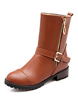 Women's Shoes Leatherette Low Heel Motorcycle Boots / Round Toe Boots Casual Black / Yellow / Beige
