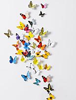 38 pezzi set di 2 adesivi murali farfalla pvc emulational 3d con bastone della gomma piuma 38 pezzi pvc / plastica