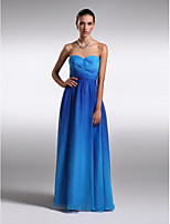 Homecoming Formal Evening Dress Sheath/Column Strapless Floor-length Chiffon