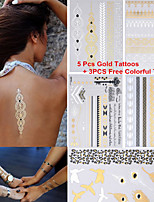 3PCS Colorful Tattoos+ 5PCS Flash Tattoo Gold Tattoo Flash Metallic Tattoo Temporary Tattoo Sticker Metal Tatoos