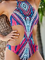 Women's Polyester Sexy Wireless Geometric Halter One-pieces Swimwear