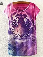 Women's Print Purple T-shirt Short Sleeve
