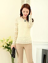 Women's Solid/Lace Black/Green/Beige Blouse , Round Neck Long Sleeve Lace/Ruffle
