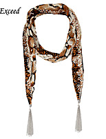 D Exceed Women's fashion tiger print chiffon scarves multi-fringed accessories Scarves with Tassl