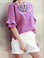 Women's Sexy Casual Cute Plus Sizes Micro Elastic ½ Length Sleeve Regular Suit (Cotton/Linen)