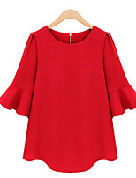 Women's Round Neck Ruffle Blouse , Chiffon ¾ Sleeve