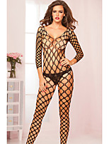 Women's Long Sleeve Open Net Bodystocking