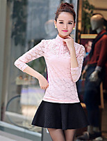Women's Solid Pink/Black Blouse , Stand Long Sleeve Hollow Out