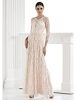 Lan Ting Sheath/Column Wedding Dress - Ivory Floor-length V-neck Lace