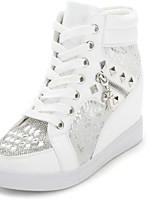 Zapatos de mujer - Tacón Cuña - Punta Redonda - Sneakers a la Moda - Casual - Sintético - Blanco / Plata