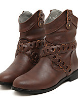 Women's Shoes Flat Heel Bootie/Round Toe Boots Outdoor/Casual Black/Brown