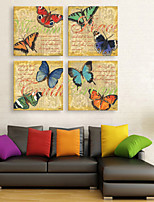 E-HOME® Stretched Canvas Art Colored Butterflies Decorative Painting  Set of 4